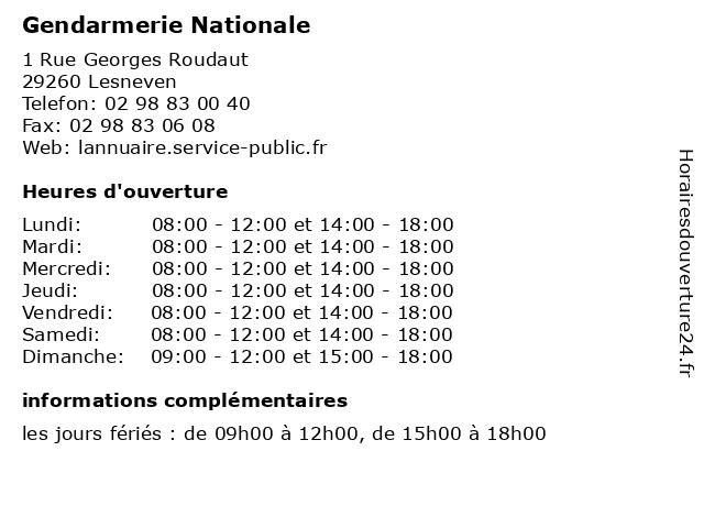 Gendarmerie Nationale à Lesneven: adresse et heures d'ouverture