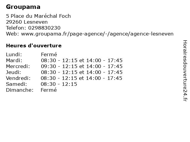 Groupama à Lesneven: adresse et heures d'ouverture