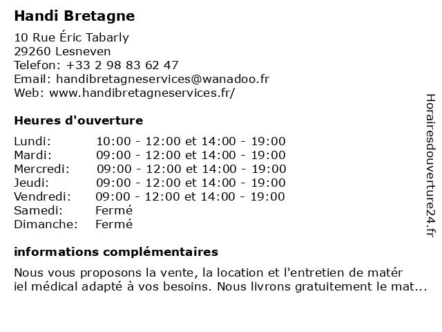 Handi Bretagne Services à Lesneven: adresse et heures d'ouverture