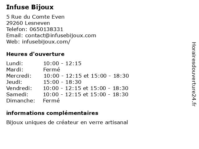 Infuse Bijoux à Lesneven: adresse et heures d'ouverture