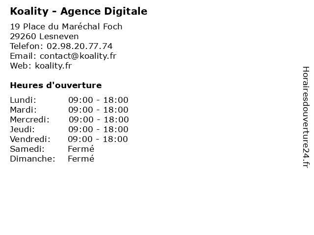 Koality - Agence Digitale à Lesneven: adresse et heures d'ouverture