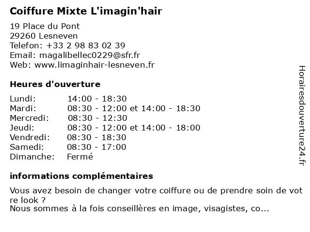 L'Imagin'Hair Coiffure Mixte à Lesneven: adresse et heures d'ouverture