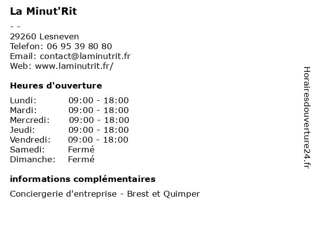 La Minut'Rit à Lesneven: adresse et heures d'ouverture