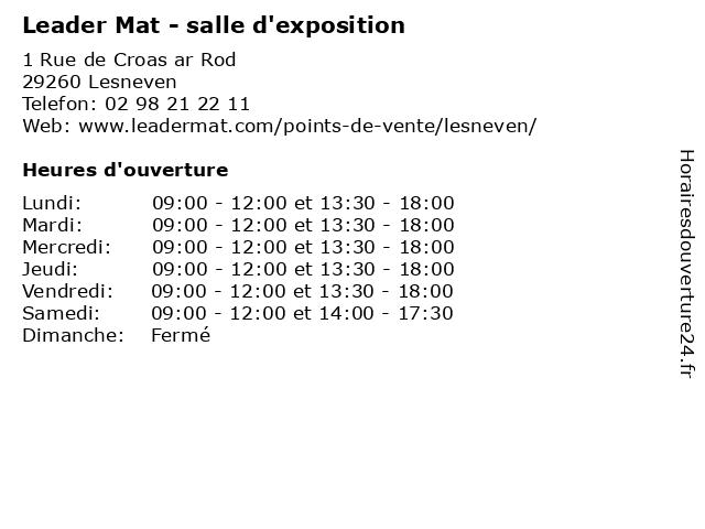 Leader Mat - salle d'exposition à Lesneven: adresse et heures d'ouverture