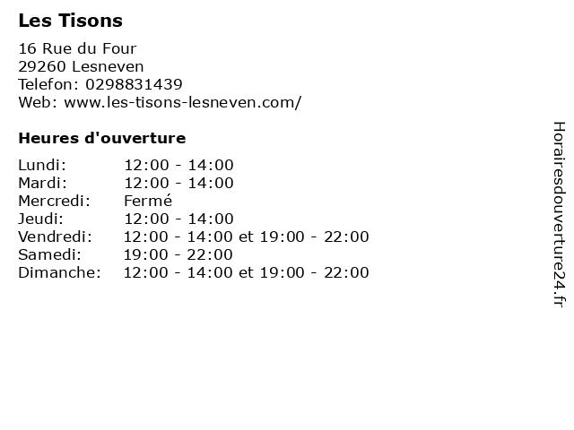 Les Tisons à Lesneven: adresse et heures d'ouverture