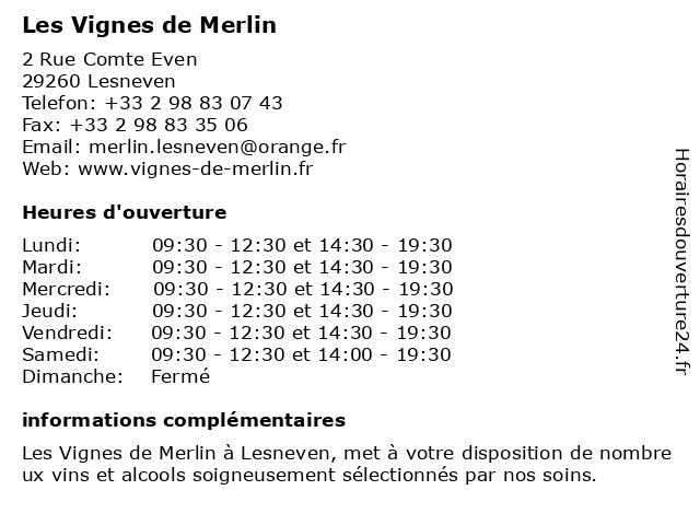 Les Vignes de Merlin à Lesneven: adresse et heures d'ouverture