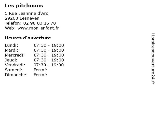 Les pitchouns à Lesneven: adresse et heures d'ouverture