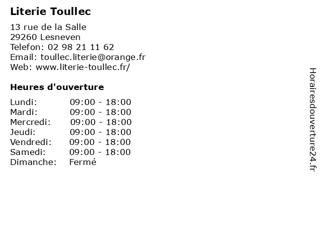 Literie Toullec à Lesneven: adresse et heures d'ouverture