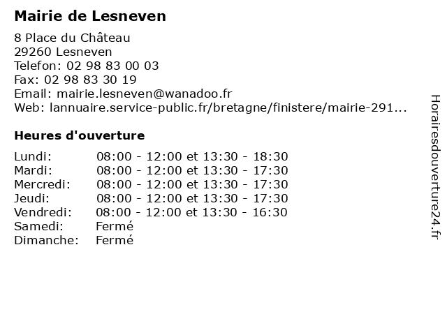 Mairie de Lesneven à Lesneven: adresse et heures d'ouverture
