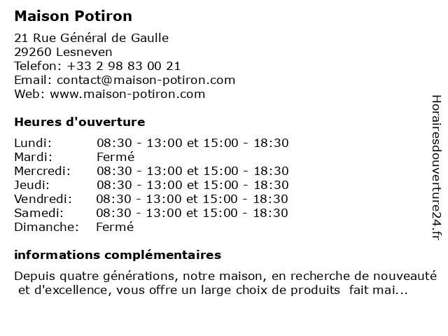 Maison Potiron à Lesneven: adresse et heures d'ouverture
