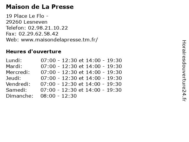 Maison de La Presse à Lesneven: adresse et heures d'ouverture