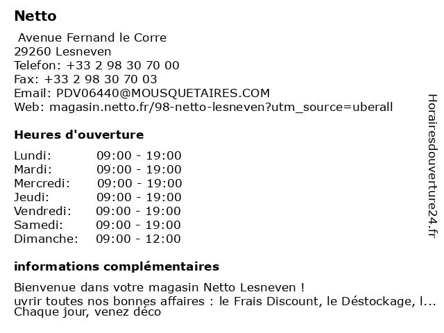 Netto à Lesneven: adresse et heures d'ouverture