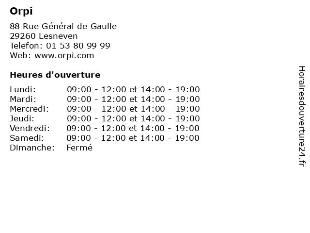 Orpi à Lesneven: adresse et heures d'ouverture