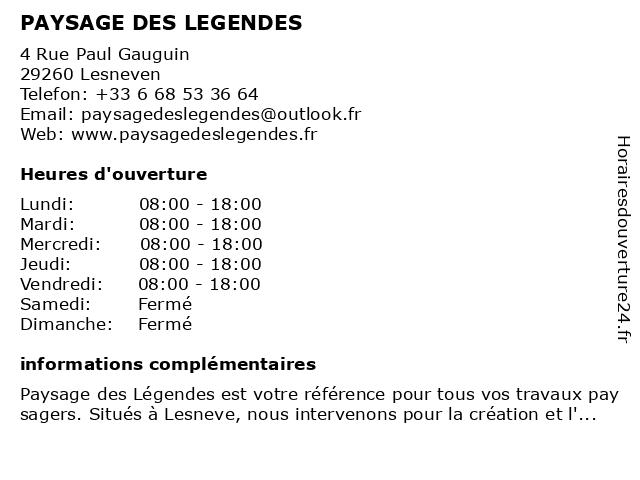 PAYSAGE DES LEGENDES à Lesneven: adresse et heures d'ouverture