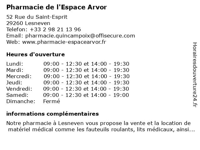 Pharmacie de l'Espace Arvor à Lesneven: adresse et heures d'ouverture