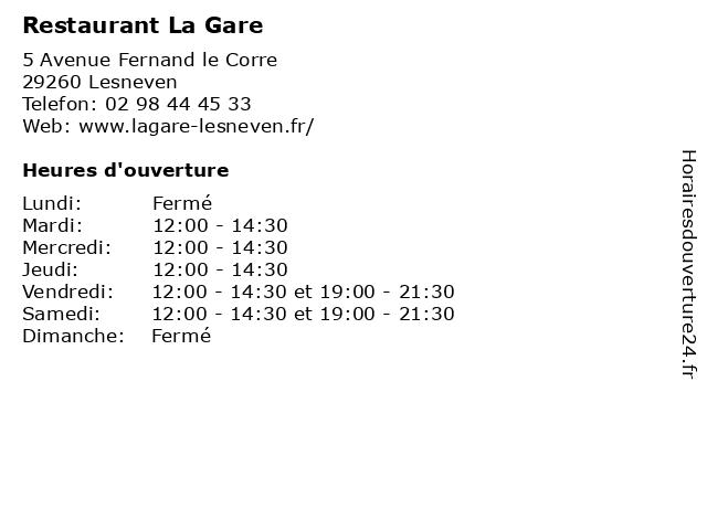 Restaurant La Gare à Lesneven: adresse et heures d'ouverture