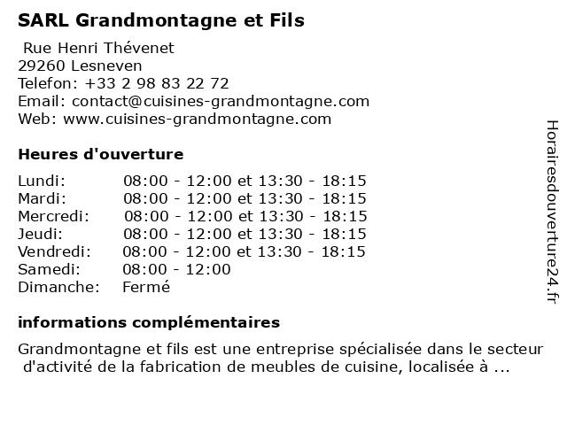 SARL Grandmontagne et Fils à Lesneven: adresse et heures d'ouverture
