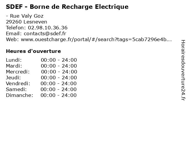 SDEF - Borne de Recharge Electrique à Lesneven: adresse et heures d'ouverture