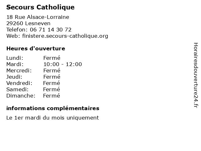 Secours Catholique à Lesneven: adresse et heures d'ouverture