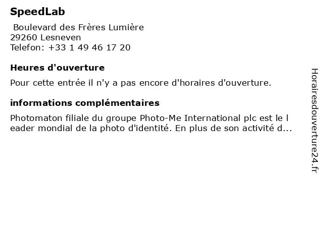 SpeedLab à Lesneven: adresse et heures d'ouverture