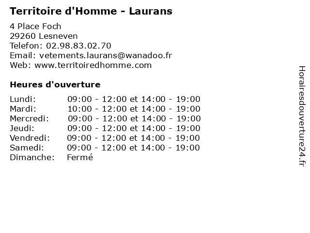 Territoire d'Homme - Laurans à Lesneven: adresse et heures d'ouverture