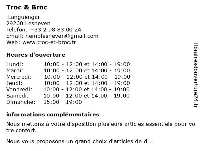 Troc & Broc à Lesneven: adresse et heures d'ouverture