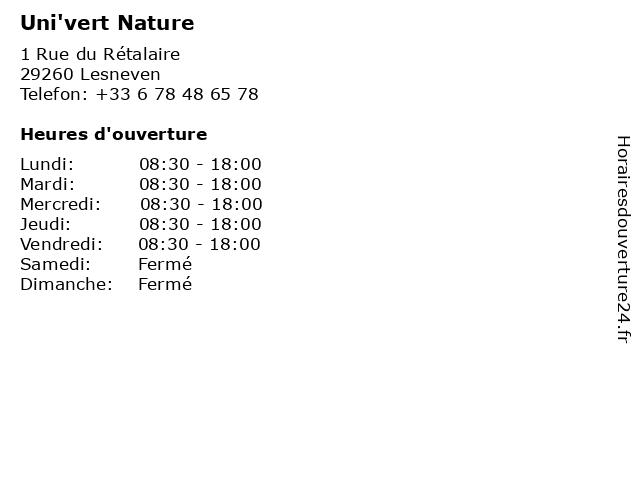 Uni'vert Nature à Lesneven: adresse et heures d'ouverture