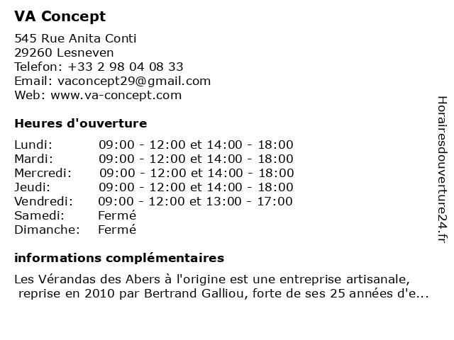 VA Concept à Lesneven: adresse et heures d'ouverture