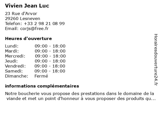 Vivien Jean Luc à Lesneven: adresse et heures d'ouverture