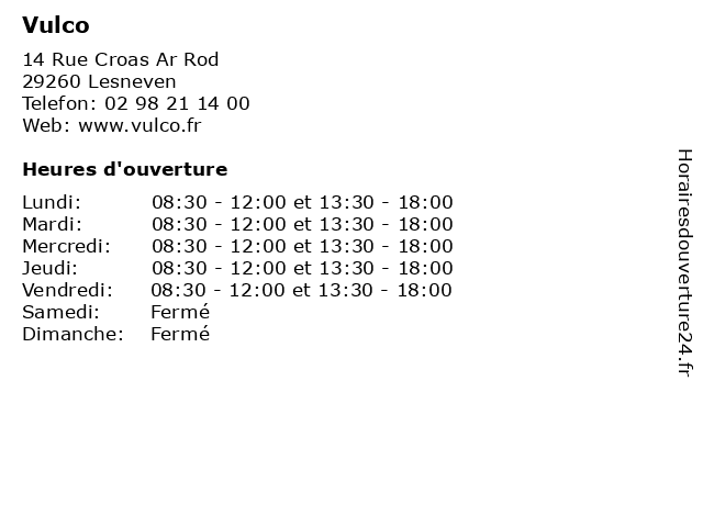 Vulco à Lesneven: adresse et heures d'ouverture