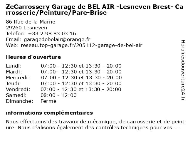 ZeCarrossery Garage de BEL AIR -Lesneven Brest- Carrosserie/Peinture/Pare-Brise à Lesneven: adresse et heures d'ouverture