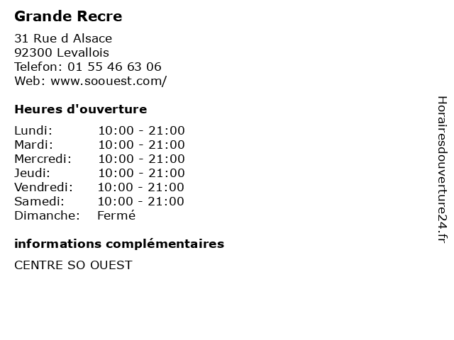 Grande Recre à Levallois: adresse et heures d'ouverture