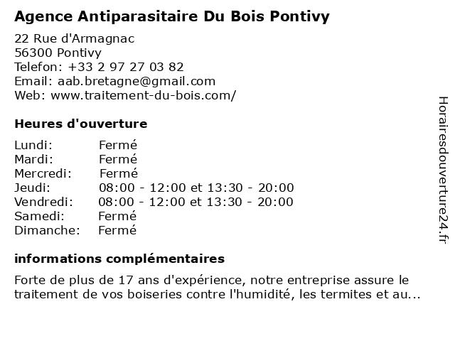 Agence Antiparasitaire Du Batiment à Lignol: adresse et heures d'ouverture