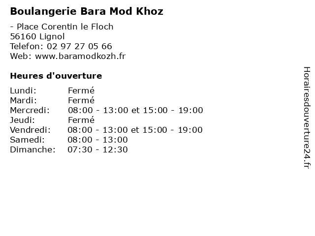 Boulangerie Bara Mod Khoz à Lignol: adresse et heures d'ouverture