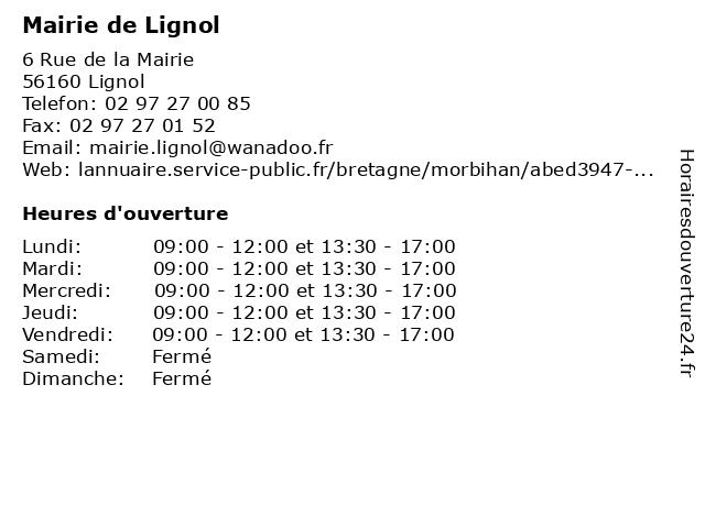 Mairie de Lignol à Lignol: adresse et heures d'ouverture