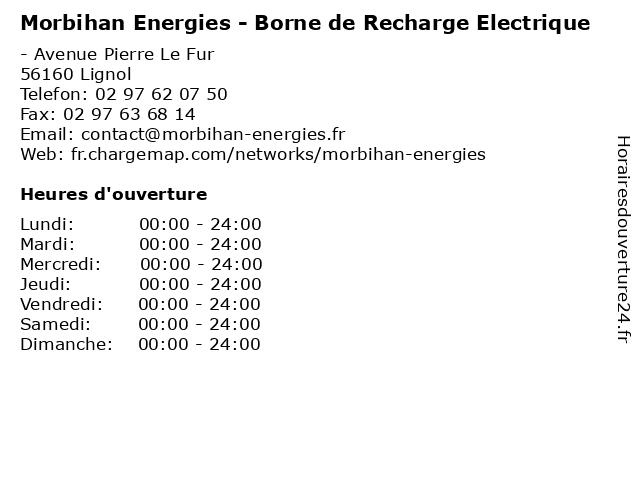 Morbihan Energies - Borne de Recharge Electrique à Lignol: adresse et heures d'ouverture