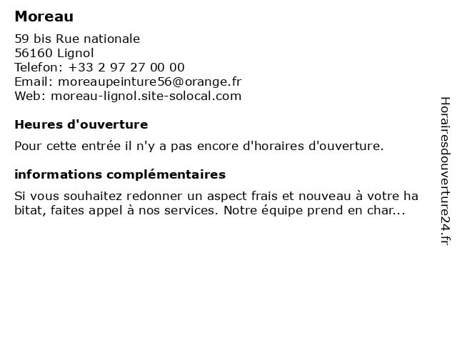 Moreau à Lignol: adresse et heures d'ouverture