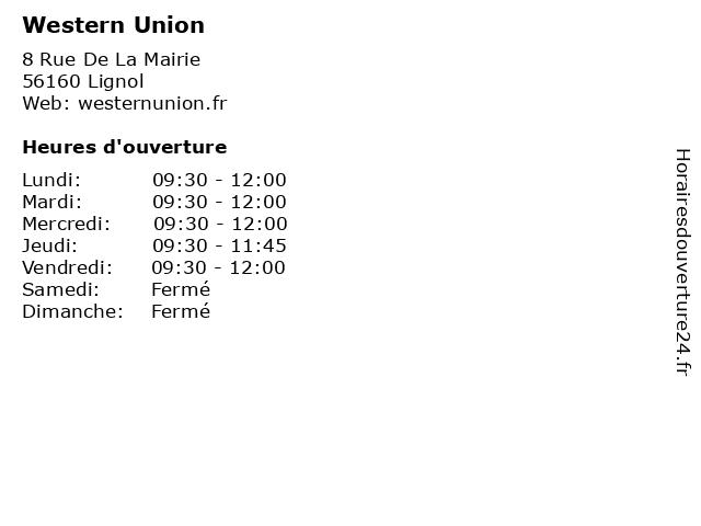Western Union à Lignol: adresse et heures d'ouverture