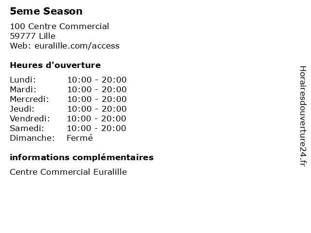 5eme Season à Lille: adresse et heures d'ouverture