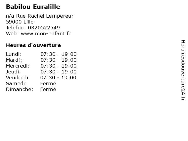 Babilou Euralille à Lille: adresse et heures d'ouverture