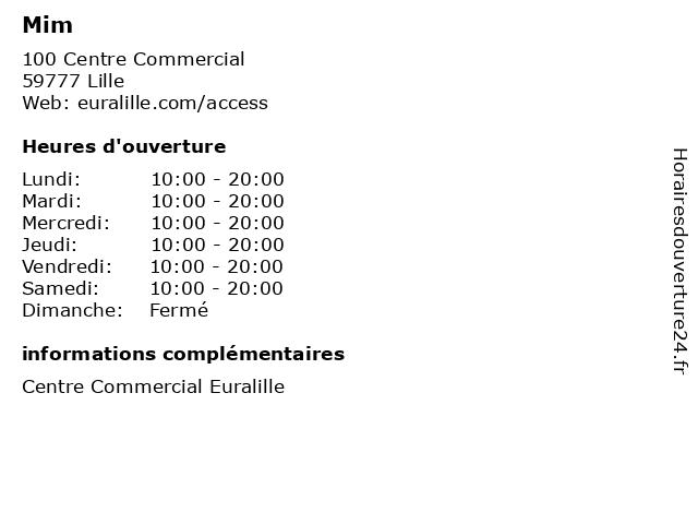Mim à Lille: adresse et heures d'ouverture