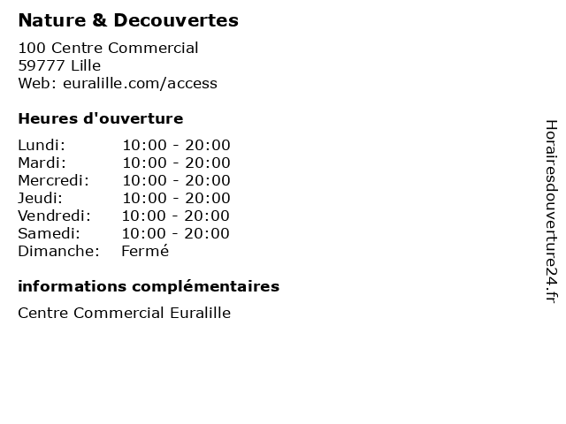 Nature & Decouvertes à Lille: adresse et heures d'ouverture