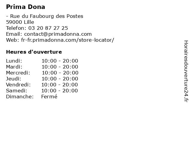 Prima Dona à Lille: adresse et heures d'ouverture