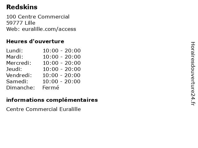 Redskins à Lille: adresse et heures d'ouverture