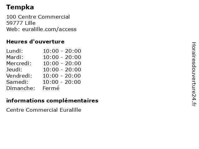 Tempka à Lille: adresse et heures d'ouverture