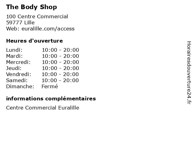 The Body Shop à Lille: adresse et heures d'ouverture
