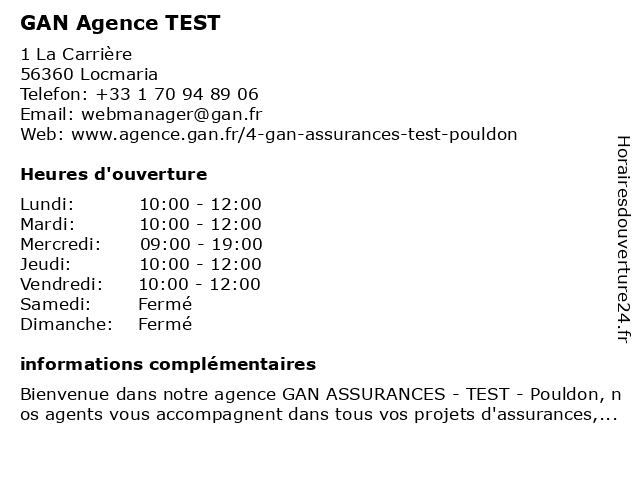 GAN ASSURANCES Pouldon à Pouldon: adresse et heures d'ouverture