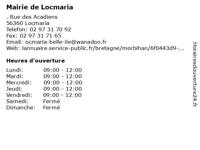 Mairie de Locmaria à Locmaria: adresse et heures d'ouverture