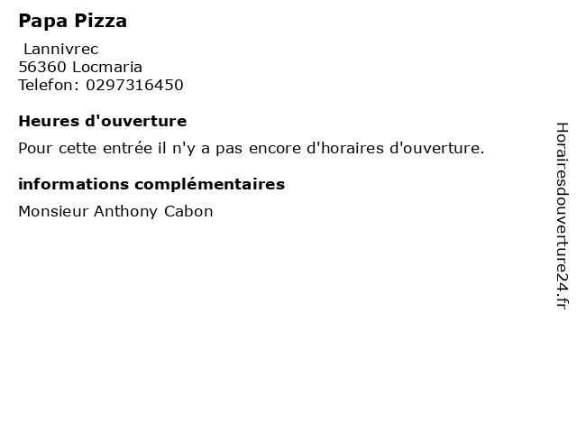 Papa Pizza à Locmaria: adresse et heures d'ouverture