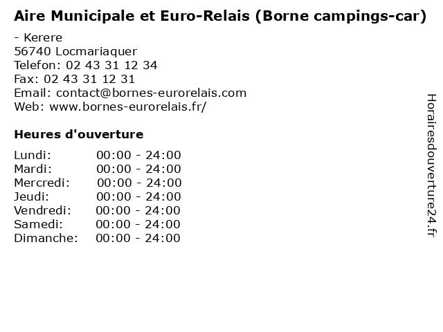 Aire Municipale et Euro-Relais (Borne campings-car) à Locmariaquer: adresse et heures d'ouverture